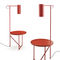 contemporary side table / powder-coated steel / leather / round