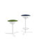 contemporary bar stool / leather / lacquered metal / fabric
