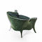 classic armchair / fabric / leather / green