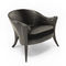 classic armchair / fabric / leather / black