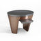 contemporary side table / metal / oval / swivel
