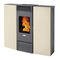 pellet heating stove / contemporary / steel / ventilated
