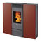 pellet heating stove / contemporary / steel / glass
