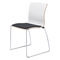 contemporary visitor chair / upholstered / with armrests / sled base