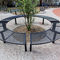 public bench / contemporary / wooden / galvanized steel