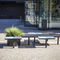 public bench / contemporary / solid wood / galvanized steel