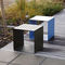 contemporary stool / wooden / sheet steel / HPL