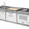 stainless steel kitchen / steel / brushed stainless steel / island