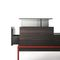 contemporary coffee table / oak / tempered glass / lacquered metal