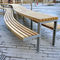 contemporary picnic table / iroko / galvanized steel / curved