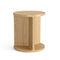 contemporary side table / oak / walnut / round