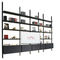 contemporary TV wall unit / stainless steel / leather / with built-in light