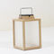 teak lantern / aluminum
