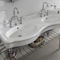 double washbasin / wall-mounted / ceramic / metal