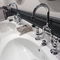 double-handle washbasin mixer tap / free-standing / metal / bathroom