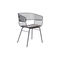 contemporary chair / with armrests / thermo-lacquered steel / black
