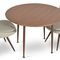 contemporary dining table / walnut / steel / round