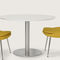 contemporary dining table / glass / steel / marble