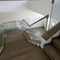 quarter-turn staircase / wooden frame / wooden steps / with risers