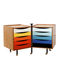 wooden office unit / steel / 5-drawer / on casters
