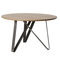 contemporary dining table / oak / steel / round