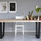 contemporary dining table / oak / steel / rectangular