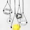 contemporary chandelier / blown glass / oak / LED