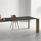 contemporary table / glass / stainless steel / brass