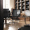 contemporary executive chair / leather / chromed metal / on casters