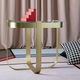 contemporary side table / glass / metal base / round