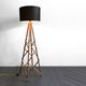 floor-standing lamp / contemporary / metal / wooden