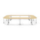 contemporary classroom table / MDF / beech / painted metal