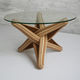 original design coffee table / tempered glass / solid wood base / bamboo base