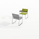 upholstered conference chair / with armrests / tablet / sled base