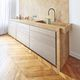 contemporary kitchen / oak / natural stone / custom