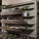 contemporary living room wall unit / lacquered wood / walnut / matte lacquered wood