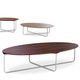 contemporary coffee table / wooden / rectangular / round