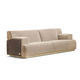 contemporary sofa / beige / velvet / leather