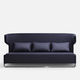 contemporary sofa / fabric / leather / chromed metal