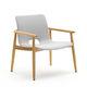 contemporary armchair / fabric / teak / plywood