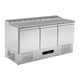 pizza prep table / stainless steel / refrigerated / with storage compartment