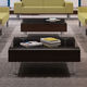 contemporary coffee table / wooden / glass / metal