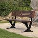traditional public bench / ipe / cast aluminum / composite material