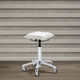 metal task stool / for beauty salons / on casters / white