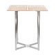 contemporary high bar table / teak / stainless steel / square