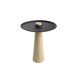 contemporary side table / steel / wooden base / round