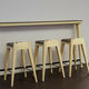contemporary bar stool / leather / fabric / thermo-lacquered steel