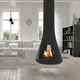 wood-burning fireplace / contemporary / hanging / closed hearth