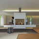 gas fireplace / contemporary / closed hearth / double-sided