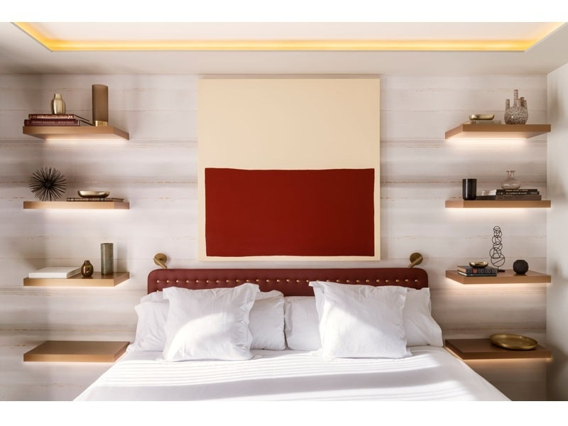 bedroom design idea replace bedside table lamp floating shelves hidden lighting